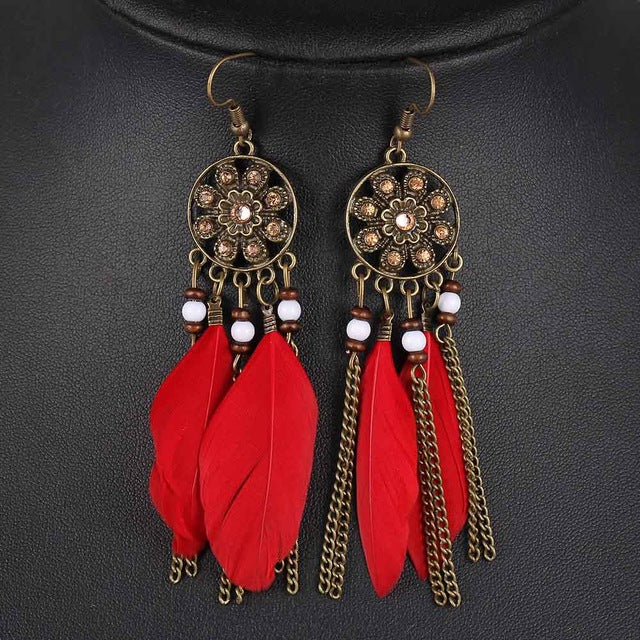 Red Women Feather Pendant Earrings