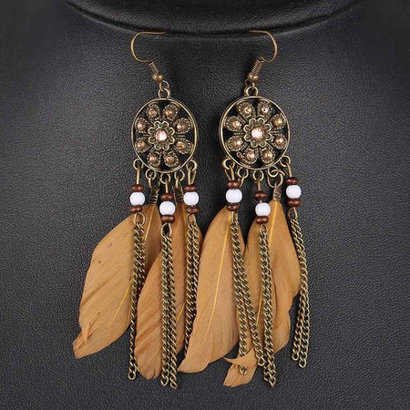 Women Feather Pendant Earrings