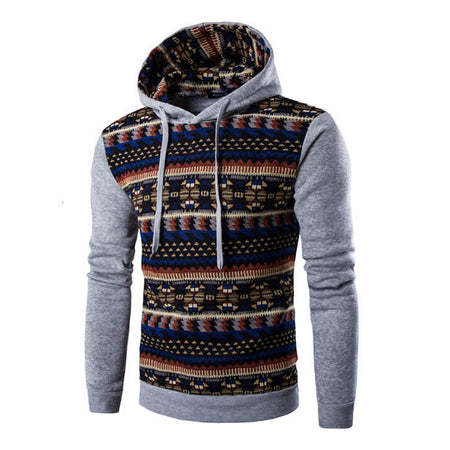 Geometric Print Sweatshirt Hooded
