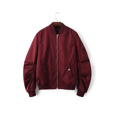 Wine red bomber jacket