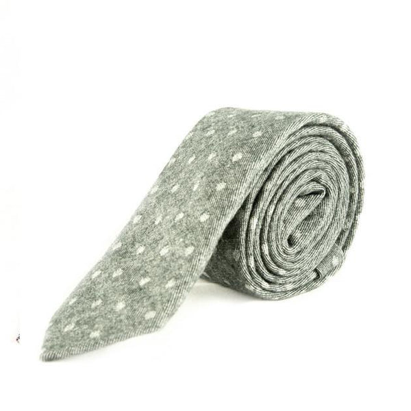 Light Grey and Green polka dot tie - Punk Monsieur