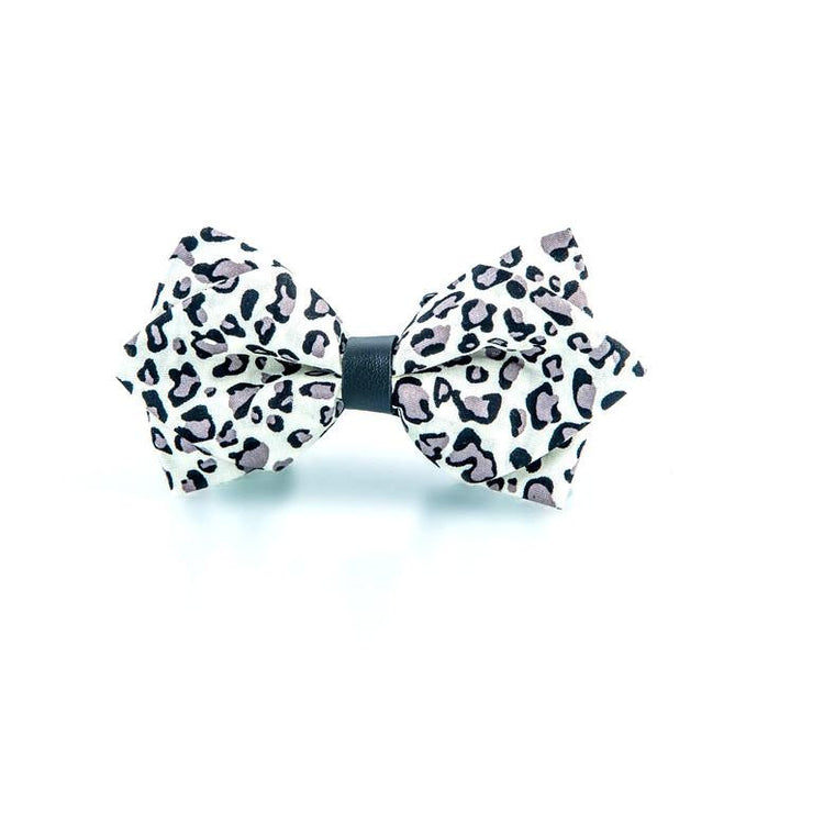 White Leopard Print Bow Tie - Punk Monsieur