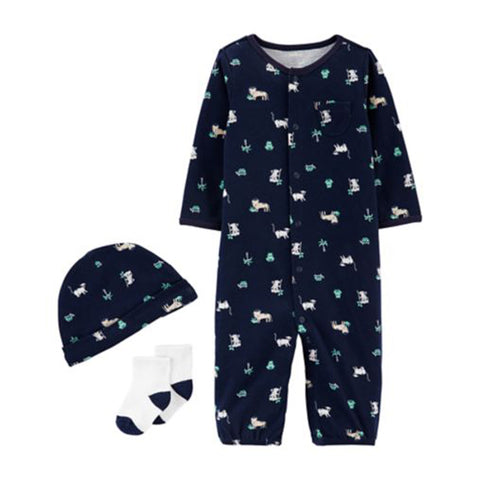 Carter's 3 piece Baby Navy Blue Take Me Home Set - Newborn