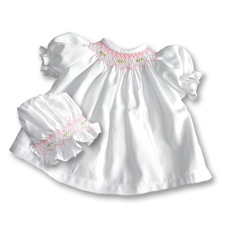 "Rosalina Baby White Classic Smocked 10"" Doll Dress & Bonnet"