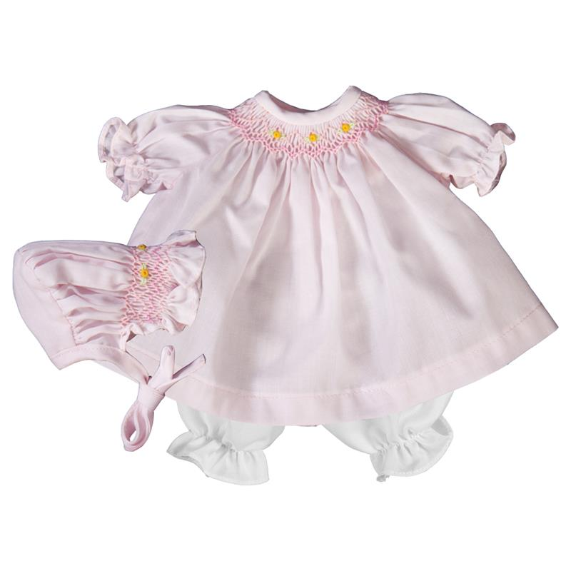 "Rosalina Baby Pink Classic Smocked 10"" Doll Dress & Bonnet"