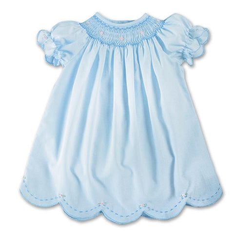 Rosalina Blue Bishop Baby Dress w/Scalloped Hem - NB to 3mths