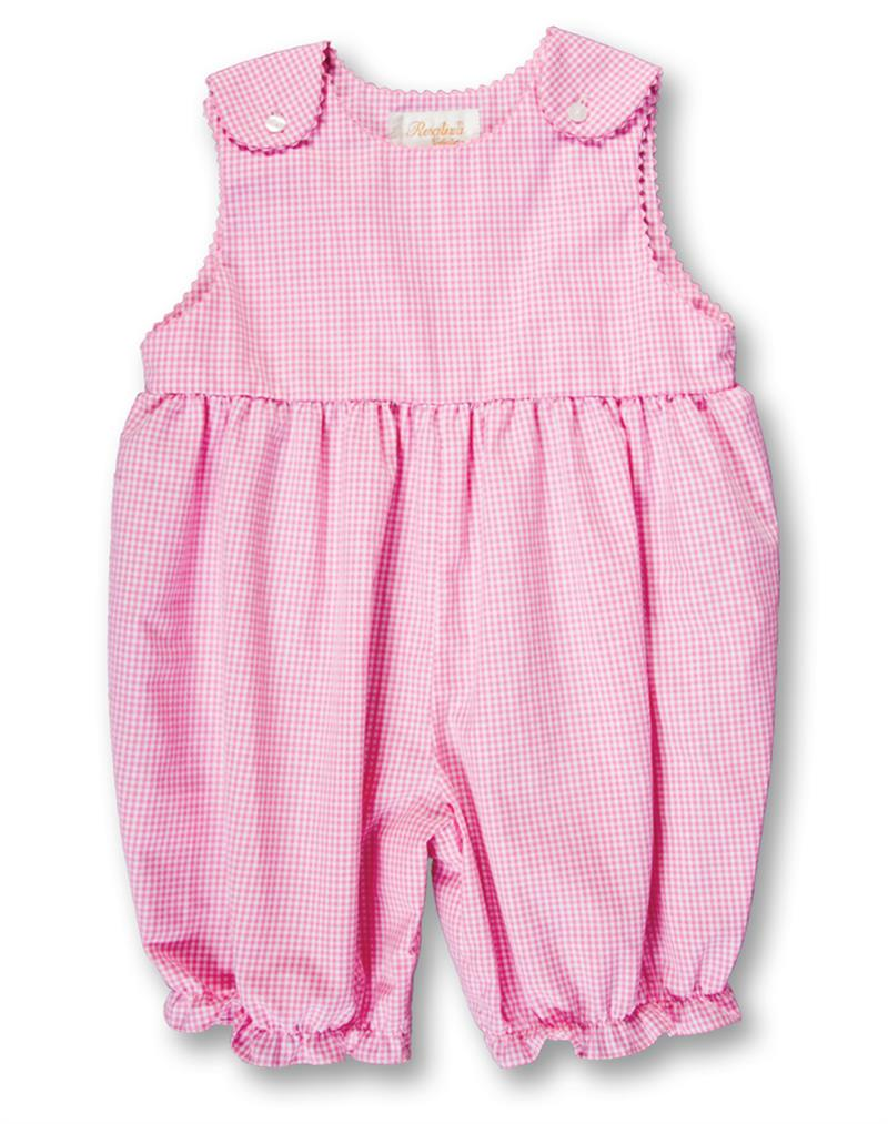 Rosalina Pink Gingham Sleeveless Knickers w/Ric Rac Trim - NB