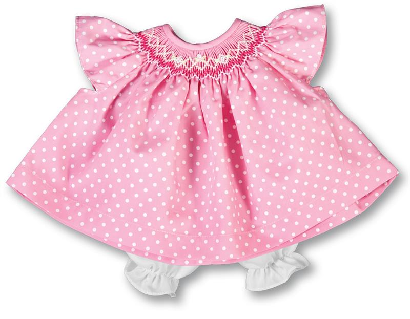 Rosalina Daphne Medium Pink White Dot English Smocked Angel Sleeve Doll Dress 15""