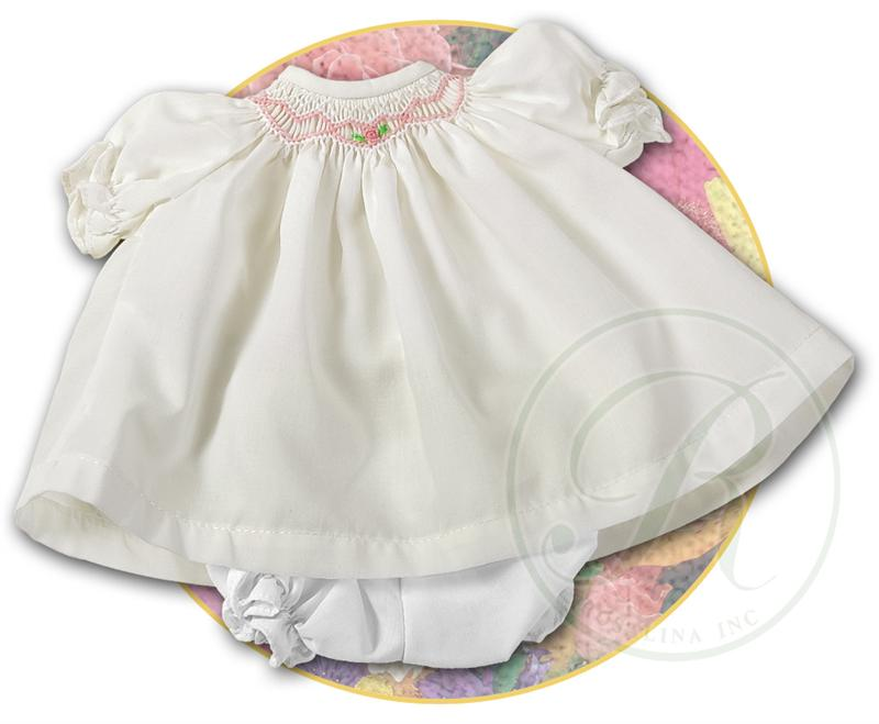 Rosalina Baby Classic Ivory Smocked Doll Dress 20-22""