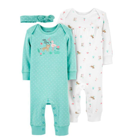 Carter's 3 piece Baby Girls Romper & Headband Set - Newborn