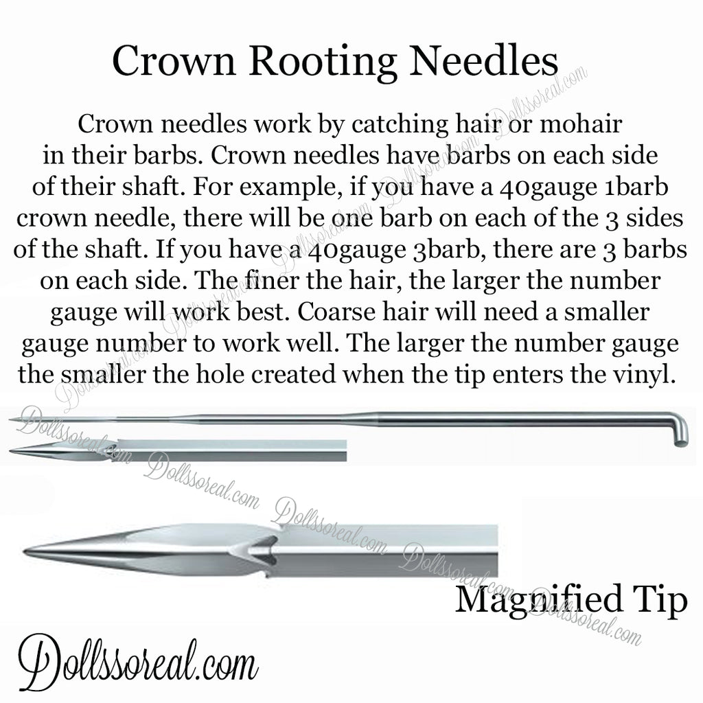 36g 3b Crown GRAY Coated End Rooting Needles 5 or 10 Pack