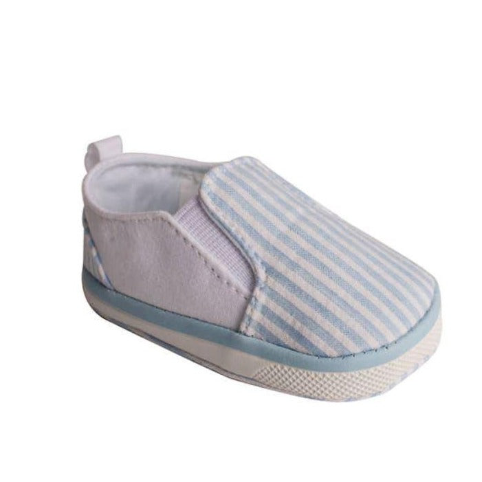 Adorable Blue & White Seersucker Slip-On Shoes - Newborn