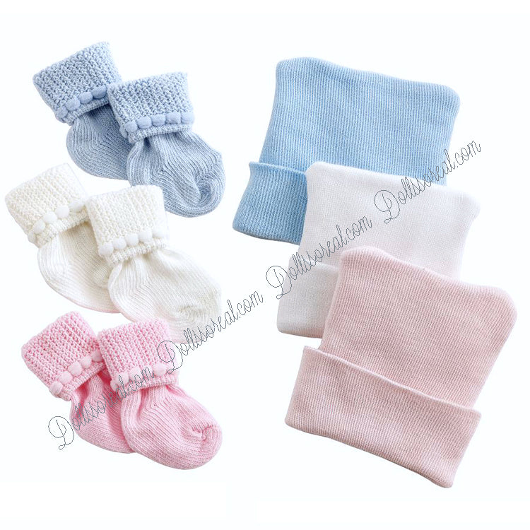 Reborn Newborn Hat Bootie Hospital Set
