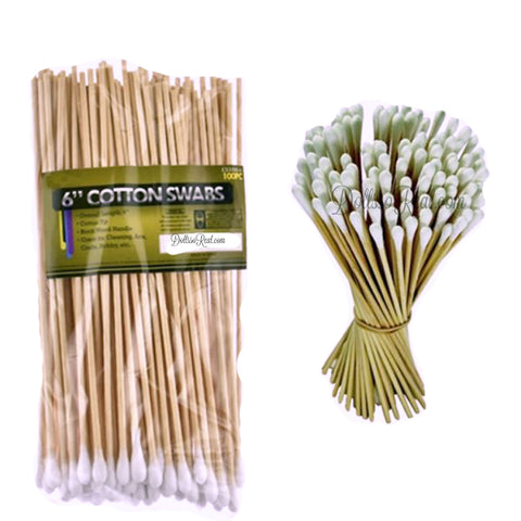 "Birch Handled 6"" Cotton Swabs 100 pieces"