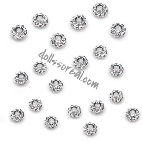 4mm Silver Rope Spacer Beads -25 Pieces