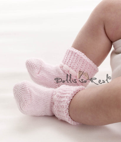 Soft Knit Baby Booties - NB - Dolls so Real Inc - 1