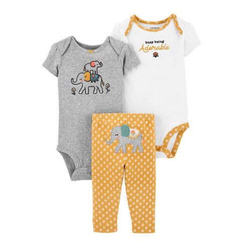 Carter's Baby Girls 3 Piece Elephant Little Character Set - Newborn