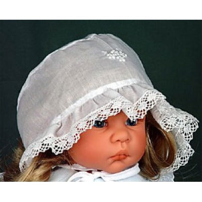 White Cotton Bonnet with Tiny Pearl Trim by Will'Beth - Dolls so Real Inc - 1
