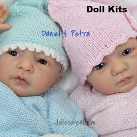 Daniel and Petra Twin Open Eye Doll Kit Set by Linde Scherer