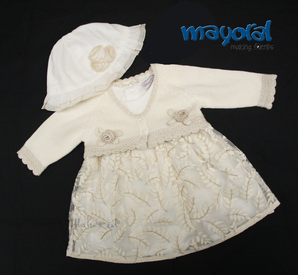 Mayoral NB Baby Ivory Golden Girl Dress 4 piece Ensemble