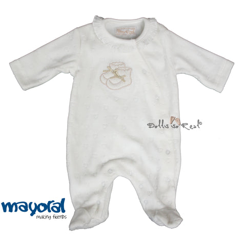 Mayoral NB Baby Girl Soft Plush Golden Bootie Sleeper