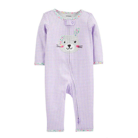 Carter's Baby Girls Bunny 2 Way Zip Cotton Footless Bodysuit - Newborn