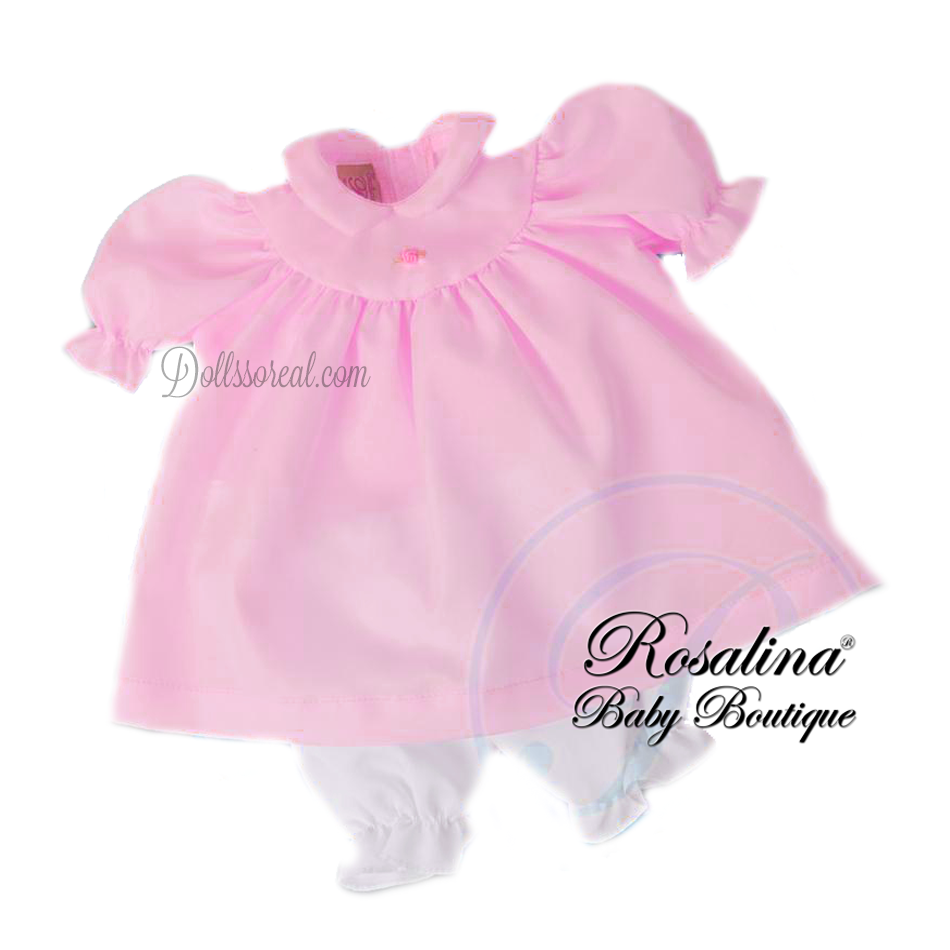 Rosalina Petal Pink Pongee Doll Dress w/Panties 10""