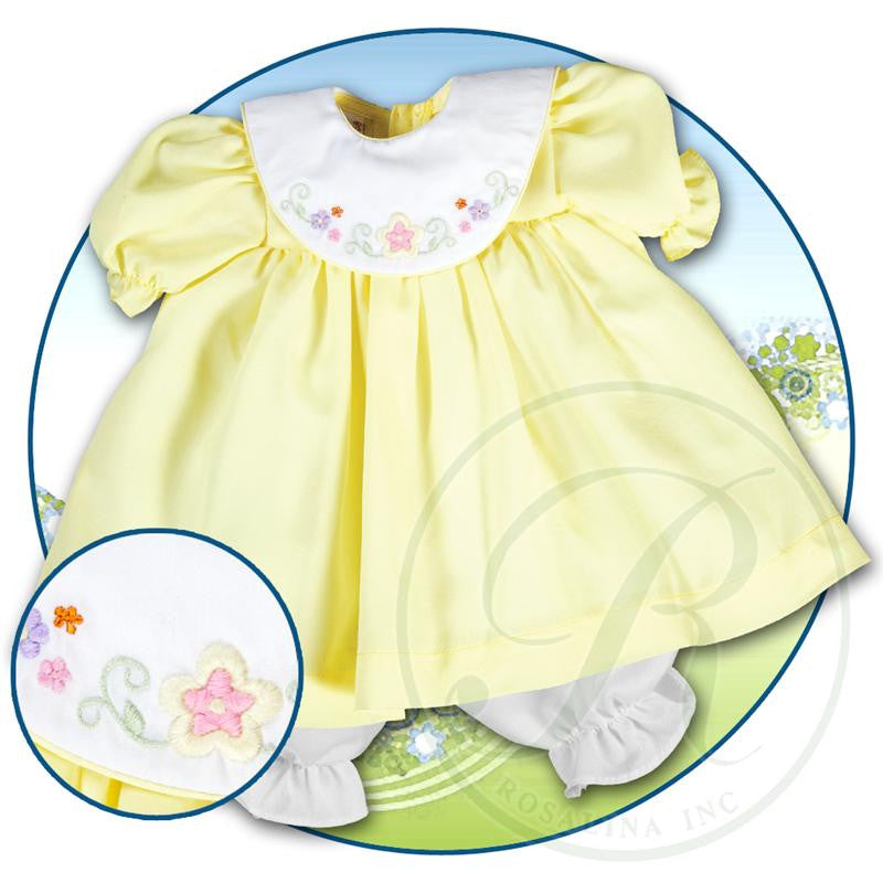 "Bright Yellow Pongee White Collar Embroidered Doll Dress 18""in - Dolls so Real Inc"
