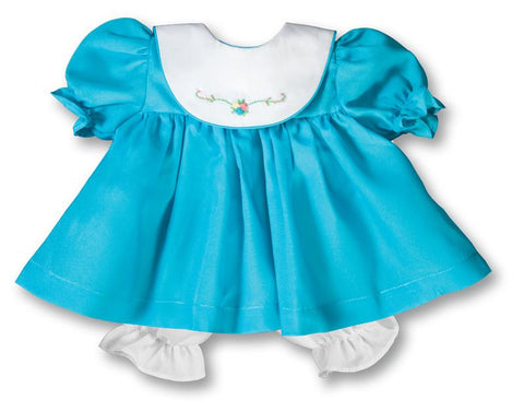 "Rosalina Turquoise Blue Bib Collar 15"" Doll Dress"