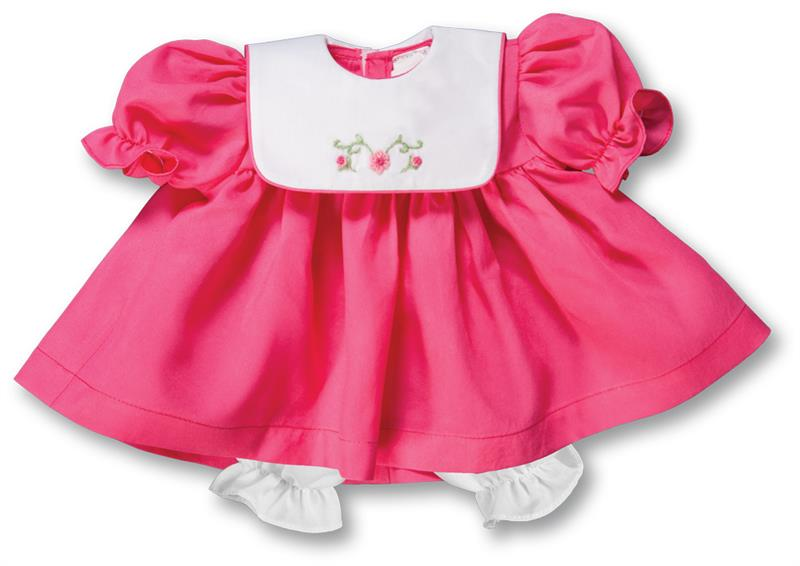 "Rosalina Fuschia Pink Bib Collar 15"" Doll Dress"