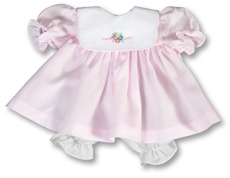 "Rosalina Pale Pink Bib Collar 18"" Doll Dress"