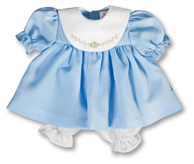 "Rosalina Cornflower Blue Bib Collar 18"" Doll Dress"
