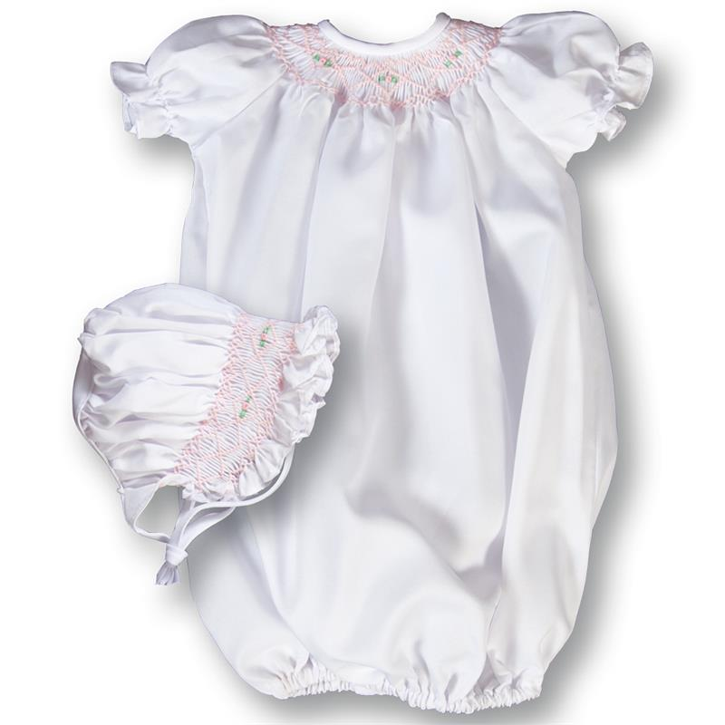 "Rosalina White Smocked 15"" Gown/Sack and Bonnet"