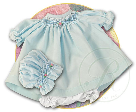 "Rosalina 10"" Baby Blue Classic Smocked Doll Dress & Bonnet"