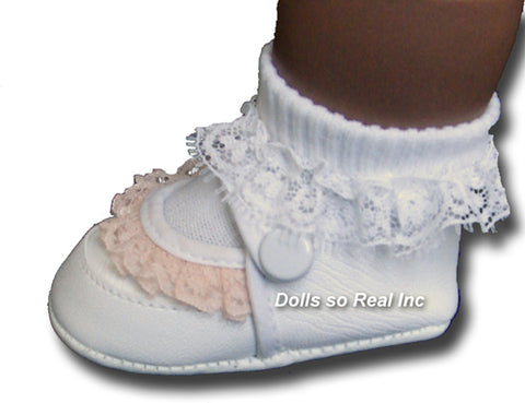 Lace Trimmed Baby Shoes - Dolls so Real Inc - 1
