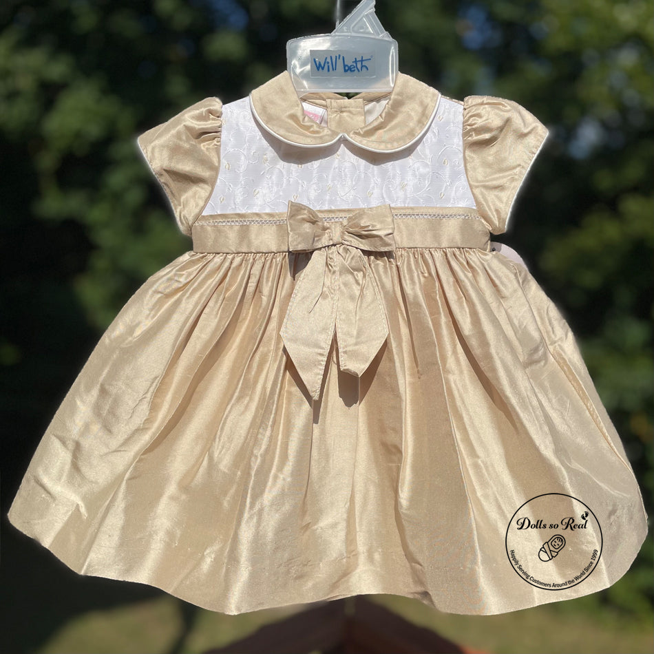 Pure Golden Silk Dress with Bow Accent by Will'Beth - Size 6mths