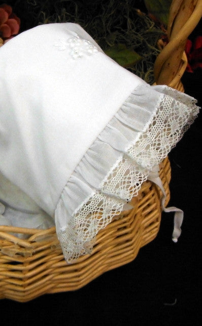 White Cotton Bonnet with Tiny Pearl Trim by Will'Beth - Dolls so Real Inc - 5