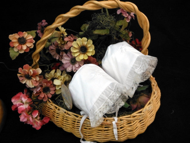 White Cotton Bonnet with Tiny Pearl Trim by Will'Beth - Dolls so Real Inc - 2