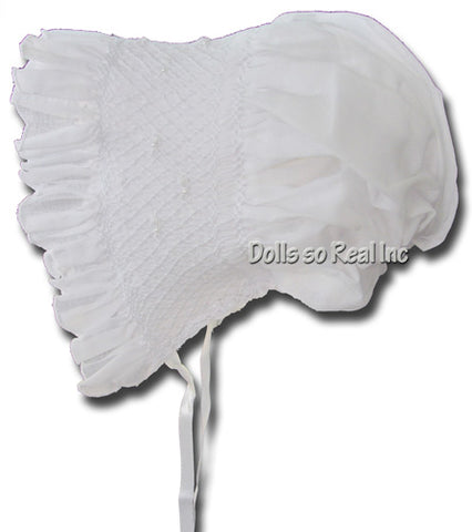 White Smocked Bonnet with Pearls by Will'Beth - Dolls so Real Inc - 1