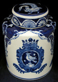 Blue & White Round Tea Caddy - Large #AV69756