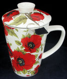 Covered Mug & Strainer – Poppy #S2178-PY