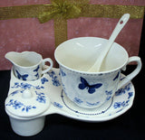 Blue Floral Butterfly Tea For One #T4020