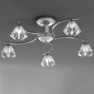 TWISTA 5 Light Semi Flush - Chrome