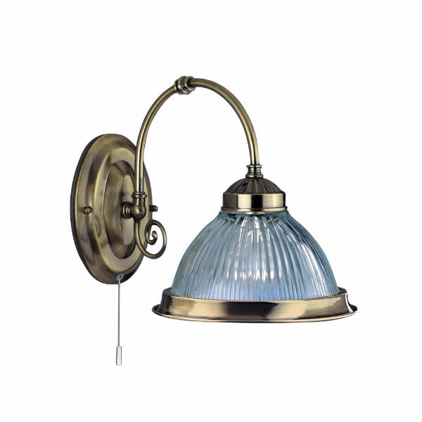 AMERICAN DINER Single Wall Light in Antique Brass