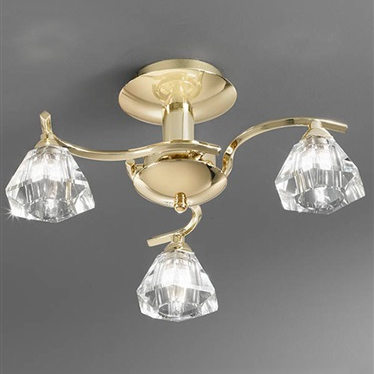 TWISTA 3 Light Semi Flush - Brass