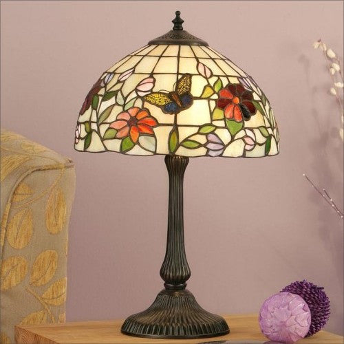BUTTERFLY Tiffany Small 2 Light Table Lamp