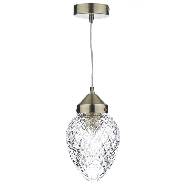 AGATHA 1 Light Single Pendant in Antique Brass