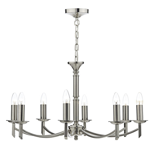 AMBASSADOR 8 Light Chandelier - Satin Chrome