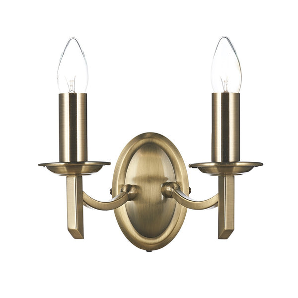 AMBASSADOR Double Wall Light - Antique Brass