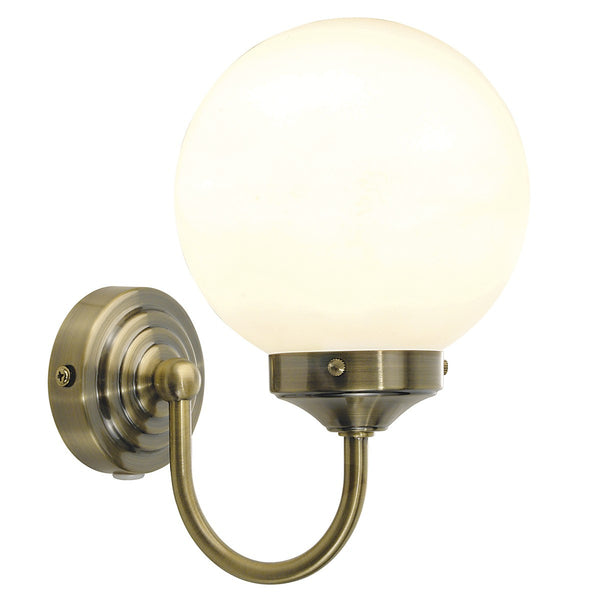 BARCLAY Bathroom Wall Light in Antique Brass
